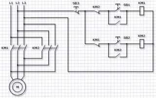 Электрическая схема управления трехфазными двигателями