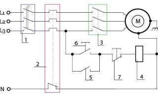 Электрическая схема трехфазного реверсивного двигатель